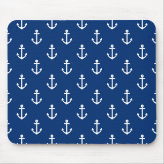 Navy Blue Nautical Anchor Pattern Mouse Pad