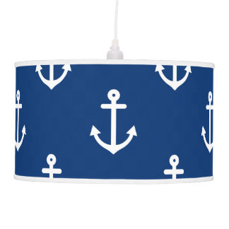 Navy Blue Nautical Anchor Pattern Pendant Lamp