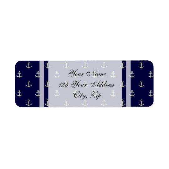 Navy blue nautical anchor return address label