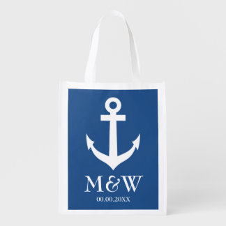 Navy blue nautical anchor reusable wedding bag reusable grocery bags