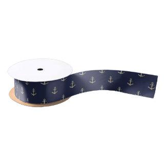 Navy blue nautical anchor satin ribbon