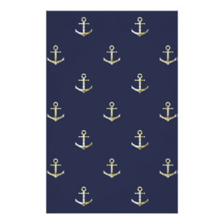 Navy blue nautical anchor stationery