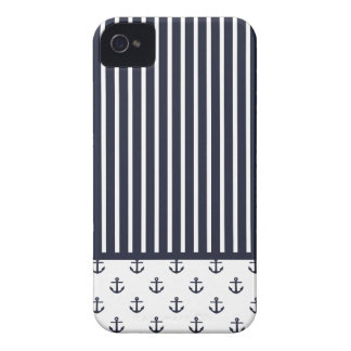 Navy Blue Nautical Anchor Stripe Pattern iPhone 4 Case-Mate Case