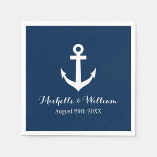 Navy blue nautical anchors aweigh wedding napkins disposable napkin