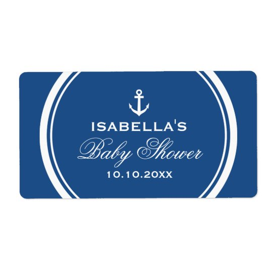 Navy blue nautical baby shower water bottle labels