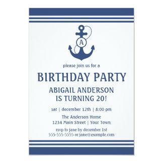 Navy Blue Nautical Birthday Party Invitations
