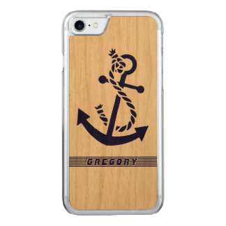 Navy Blue nautical Boat Anchor 3 And Blue Stripes Carved iPhone 7 Case