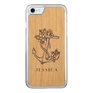 Navy Blue Nautical Floral Anchor Carved iPhone 8/7 Case
