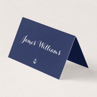 Navy Blue Nautical Folded Place Setting Cards