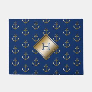Navy Blue Nautical Gold Anchors Monogram Doormat