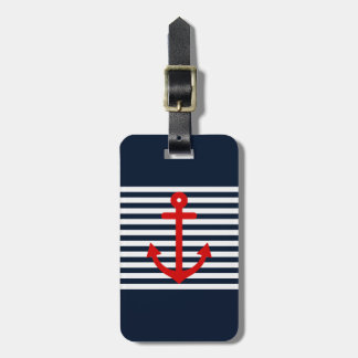 Navy Blue Nautical Luggage Tag