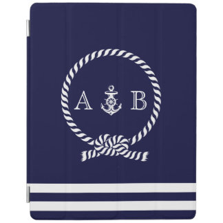 Navy Blue Nautical Rope and Anchor Monogrammed iPad Cover