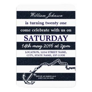 Navy Blue Nautical Sailor Coast Anchor Birthday Card