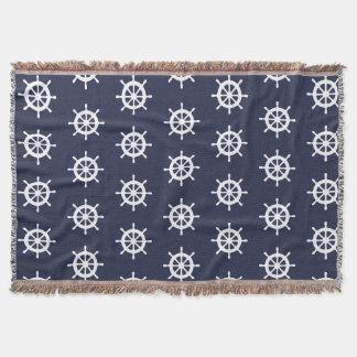 Navy blue nautical ship helm pattern throw blanket