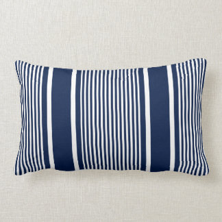Navy Blue Nautical Striped Pillow