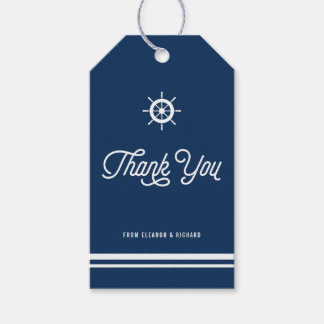 Navy Blue Nautical Thank You Script with Helm Pack Of Gift Tags