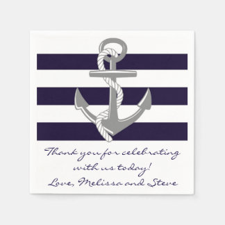 Navy Blue Nautical Thank You Wedding Napkins Disposable Napkin