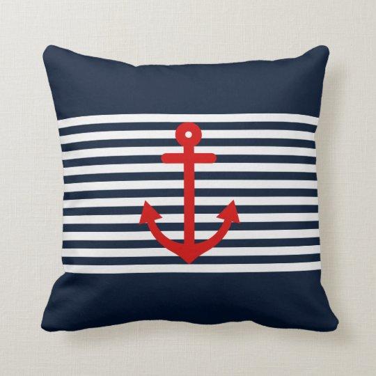 Navy Blue Nautical Throw Pillow