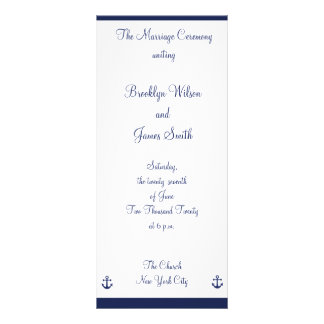 Navy Blue Nautical Wedding Ceremony Programs