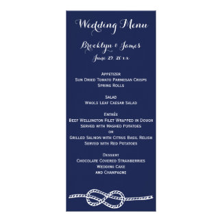 Navy Blue Nautical Wedding Menu Cards Knot Custom Rack Cards