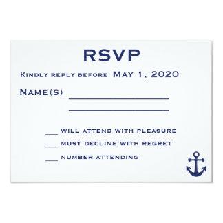 Navy Blue Nautical Wedding RSVP Card With Anchor