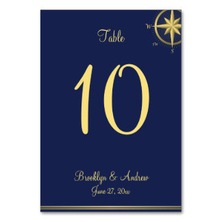 Navy Blue Nautical Wedding Table Number Cards
