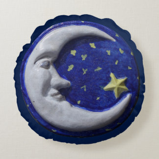 Navy Blue Night Sky Crescent Moon Round Pillow