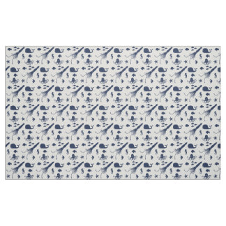 Navy Blue Ocean Animal Pattern Fabric