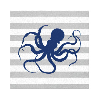 Navy Blue Octopus Grey and White Stripes Canvas Print