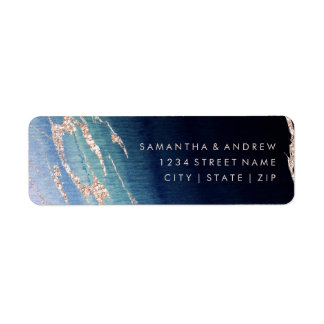 Navy Blue Ombre Agate Gold Wedding Return Address