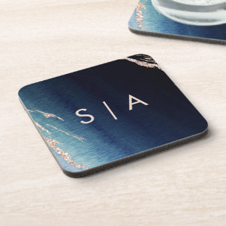 Navy Blue Ombre Agate & Rose Gold Wedding Monogram Coaster