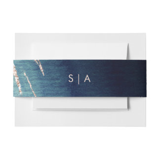 Navy Blue Ombre Agate & Rose Gold Wedding Monogram Invitation Belly Band