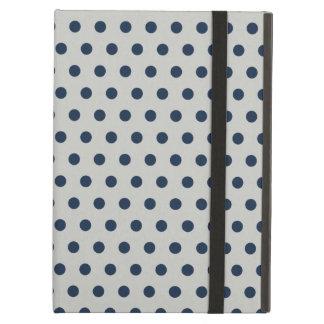Navy Blue on Gray Tiny Little Polka Dots Pattern iPad Air Cases
