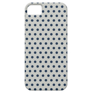Navy Blue on Gray Tiny Little Polka Dots Pattern iPhone 5 Case