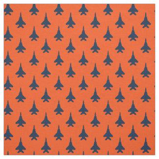 Navy Blue on Orange Eagle Fighter Jet Pattern Fabric