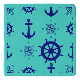 Navy Blue On Turquoise Nautical Pattern Trivet