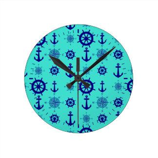 Navy Blue On Turquoise Nautical Pattern Wallclock