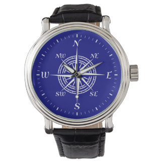 Navy Blue On White Coastal Compass Rose Watches