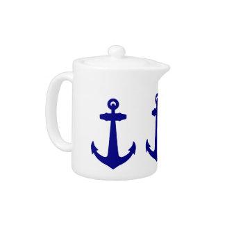Navy Blue On White Coastal Decor Anchor