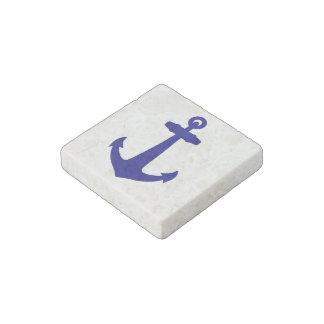 Navy Blue On White Coastal Decor Anchor Stone Magnets
