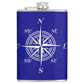 Navy Blue On White Coastal Decor Compass Rose Flasks