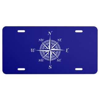 Navy Blue On White Coastal Decor Compass Rose License Plate