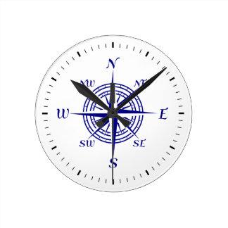 Navy Blue On White Coastal Decor Compass Rose Round Clock
