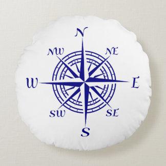 Navy Blue On White Coastal Decor Compass Rose Round Pillow