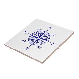 Navy Blue On White Coastal Decor Compass Rose Tile