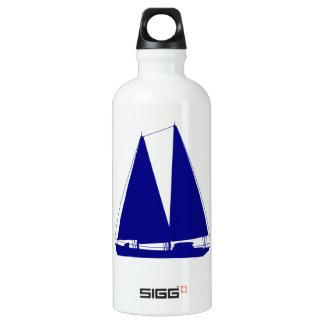 Navy Blue On White Coastal Decor Sailboat