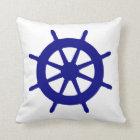 Navy Blue On White Coastal Decor Ship Wheel Throw Pillow