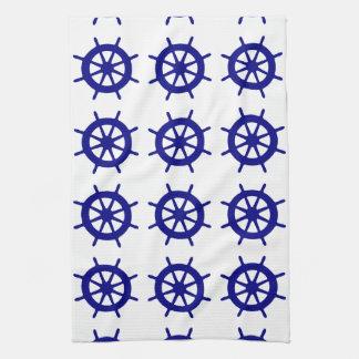 Navy Blue On White Coastal Decor Ship Wheel Towel