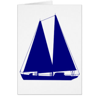 Navy Blue On White Coastal Sailboat Card