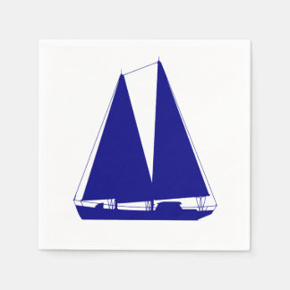 Navy Blue On White Coastal Sailboat Paper Napkin